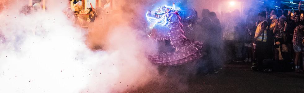 A Dragon dancing through Fire Crackers at TET 2018
