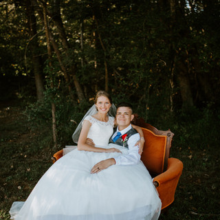 bride and groom couch