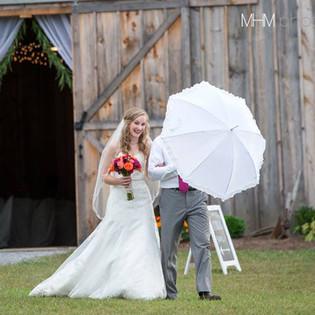 Bride walking with shade