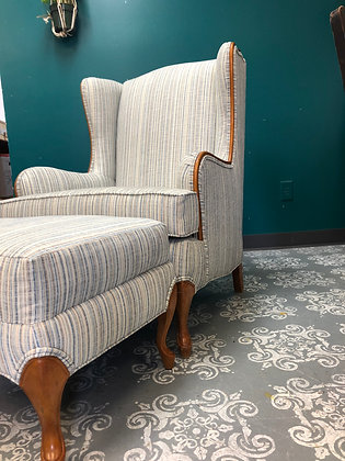 Curved leg Wing-back Chair with Ottoman