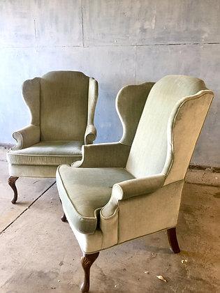 Pair Flexsteel Wingback Chairs