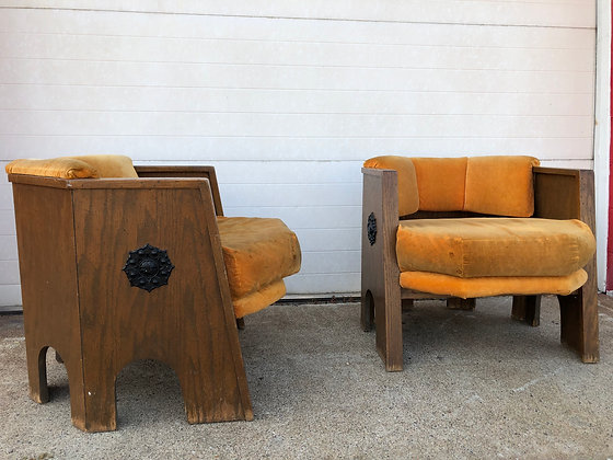 Pair of Gothic Barrel Chairs