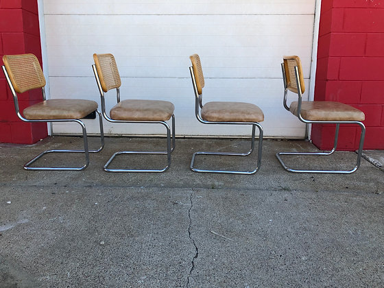 4-Chrome Cantilever Dining Chairs