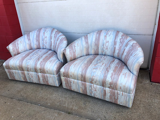 Pair Over-sized Barrel Chairs
