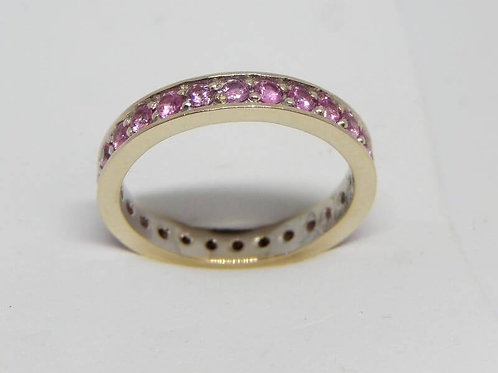 WHITE GOLD RING & PINK SAPPHIRES