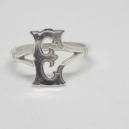 SOLID STERLING SILVER INITIAL RING