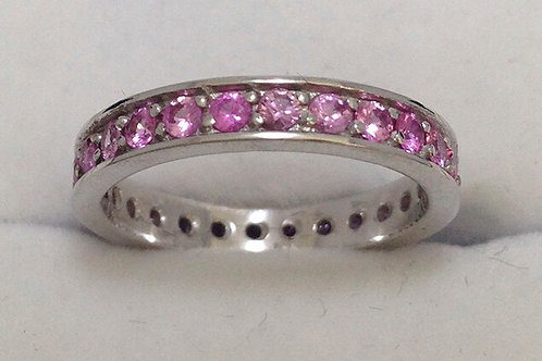 AUSTRALIAN MINED PINK SAPPHIRE 9 CT WHITE GOLD RING