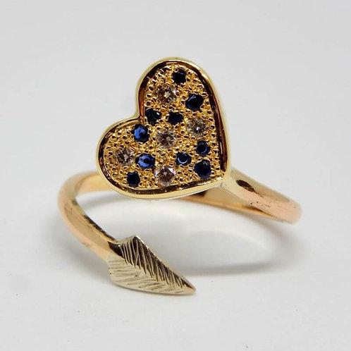 9 CT YELLOW & WHITE GOLD SAPPHIRE AND DIAMOND RING