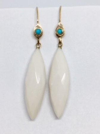 NATURAL WHITE ONYX & TURQUOISE DROPS