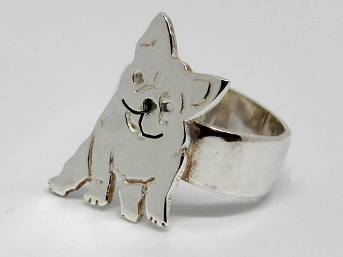STERLING SILVER PUGG RING