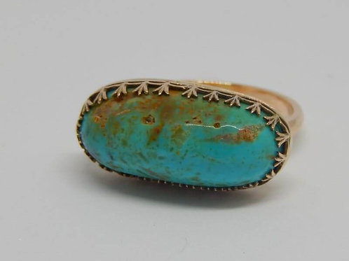 VINTAGE KINGSMAN TURQUOISE GOLD RING