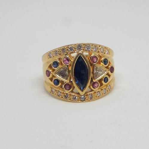 GOLD SAPPHIRE, DIAMONDS & RUBY RING