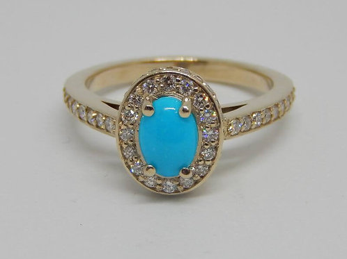 9CT WHITE GOLD DIAMOND & TURQUOISE RING