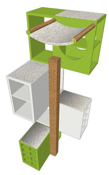 Kratzbaum in Limettengrün / Weiss