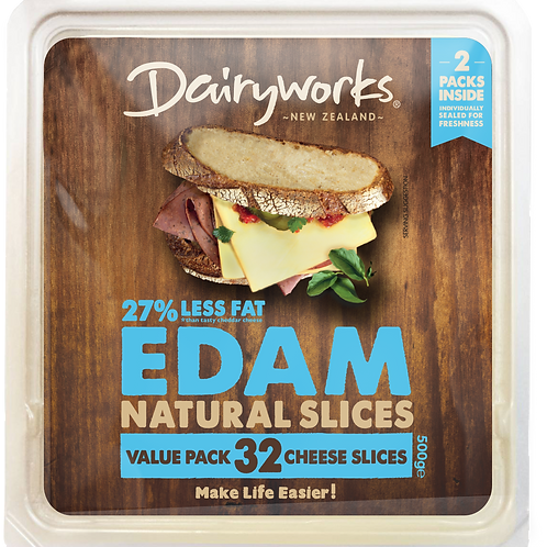 Dairyworks Edam Value Pack 500g Natural Cheese Slices