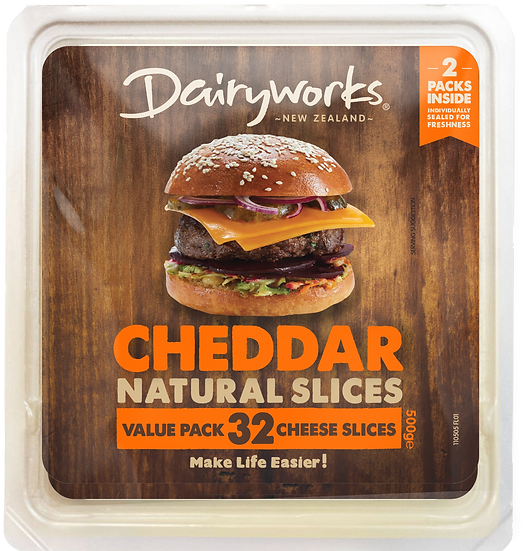 Dairyworks Cheddar Value Pack 500g Natural Cheese Slices