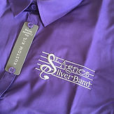 Purple top with St Agnes Silver Band logo embroidered
