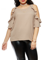 Plus Size Ruffle Cold Shoulder Top with Necklace.PNG