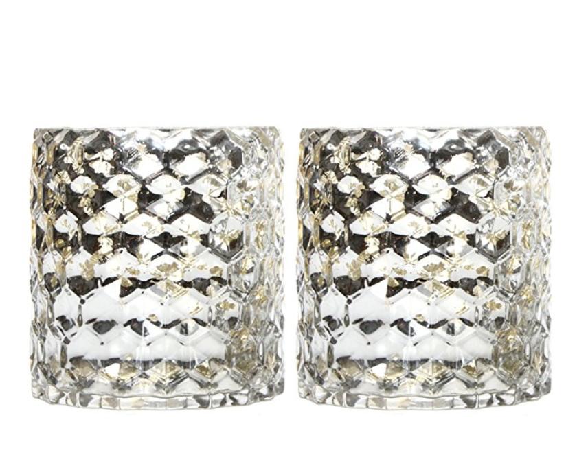 """Hosley's Set of 2 Metallic Glass Honeycomb Candle Holders - 5"""" High"""