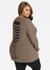 SLASH BACK OPEN FRONT KNIT CARDIGAN