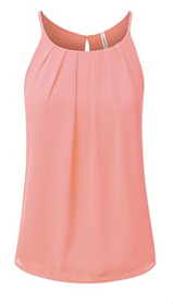 JJ Perfection Women's Round Neck Front Pleated Chiffon Cami Tank Top.PNG