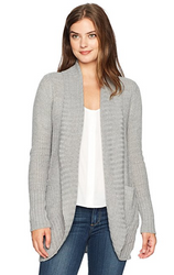 Jason Maxwell Women's Cacoon Drape Long Sleeve Turnback Collar Cardigan