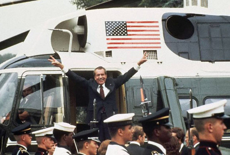 Disgraced ex-president Richard Nixon leaves the White House after resigning on August 9th, 1974.