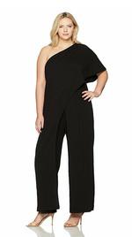 Adrianna Papell Women's Plus Size One Shoulder Crepe Melania Jumpsuit
