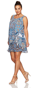 Robbie Bee Women's Plus Size Ruffle Front Chiffon Shift Dress