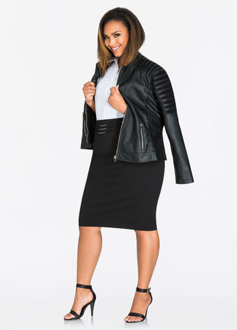 SLIM PENCIL SKIRT WITH HARDWARE