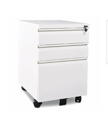 """3 Drawer Metal White File Cabinet with Lock (15.7"""" W x 19.7"""" D x 24.6"""" H)"""