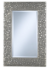 Textured Relief 36in High Silver Wall Mirror