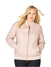 AVENUE Women's Stripe Pleather Bomber Jacket