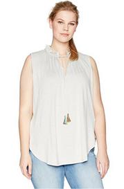 Melissa McCarthy Seven7 Women's Plus Size Ruched Tie Neck Tank