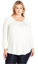 Melissa McCarthy Seven7 Women's Plus Size Long Sleeve Top with Lace Detail