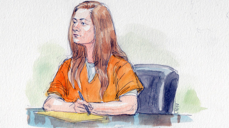 An artist's rendering of amateur Russian spy Maria Butina in courtThis piece was originally published by The Integrity Initiative