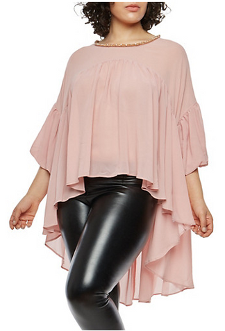 Plus Size Beaded High Low Balloon Sleeve Top.PNG