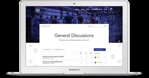 Image of laptop of the Forum on the Alianza Futsal website