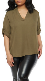 Plus Size Tabbed Sleeve Blouse.PNG