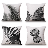WOMHOPE 4 Pcs - 17in Black Leave Mordern Style Cotton Canvas Square Throw Pillow Case