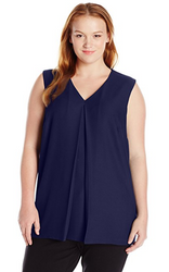 Calvin Klein Women's Plus Size Double Layer V-Neck Top