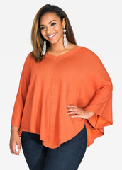 V-NECK CAPELET SWEATER