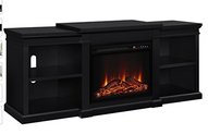 Altra Furniture Manchester TV Stand with Fireplace, 70, Black
