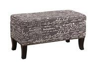 Linon Stephanie Script Linen Ottoman, Grey
