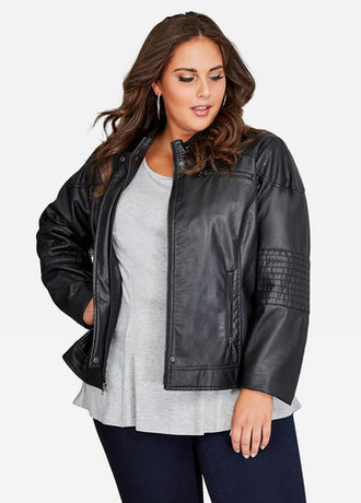 ZIP COLLAR FAUX-LEATHER RACING JACKET