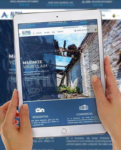 Diseño web para Alpha Adjuster