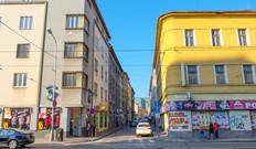 Between two buildings