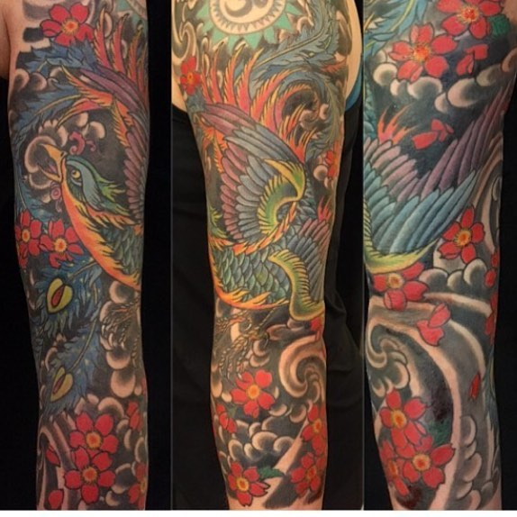 Phoenix and flower sleeve by _laurak_tat