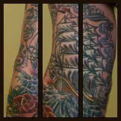 Instagram - Ship sleeve by Laura @ldati #musiccitytattoo #traditionaltattoo
