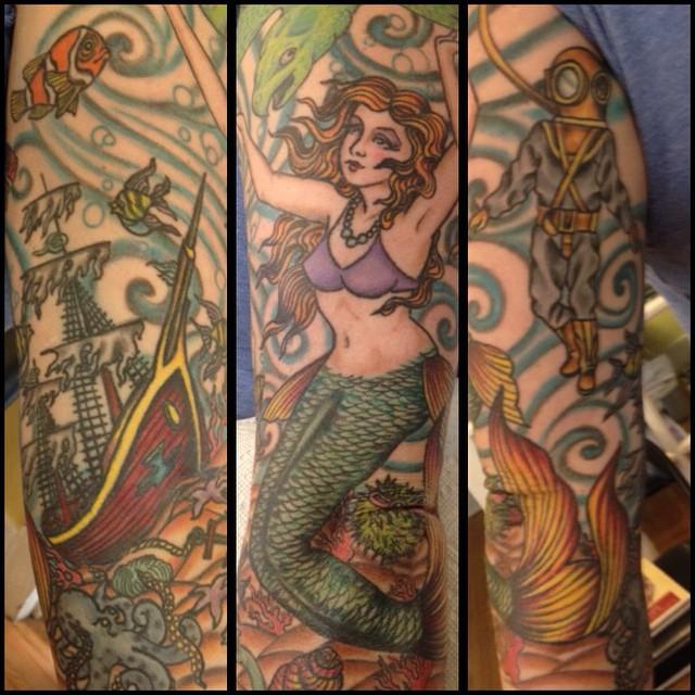 Instagram - Healed #mermaidtattoo#pinuptattoo#shiptattoo#musiccitytattoo @ldati